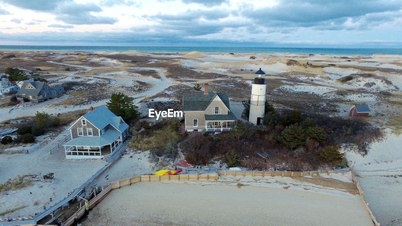 Aerial view of sandy neck lighthouse