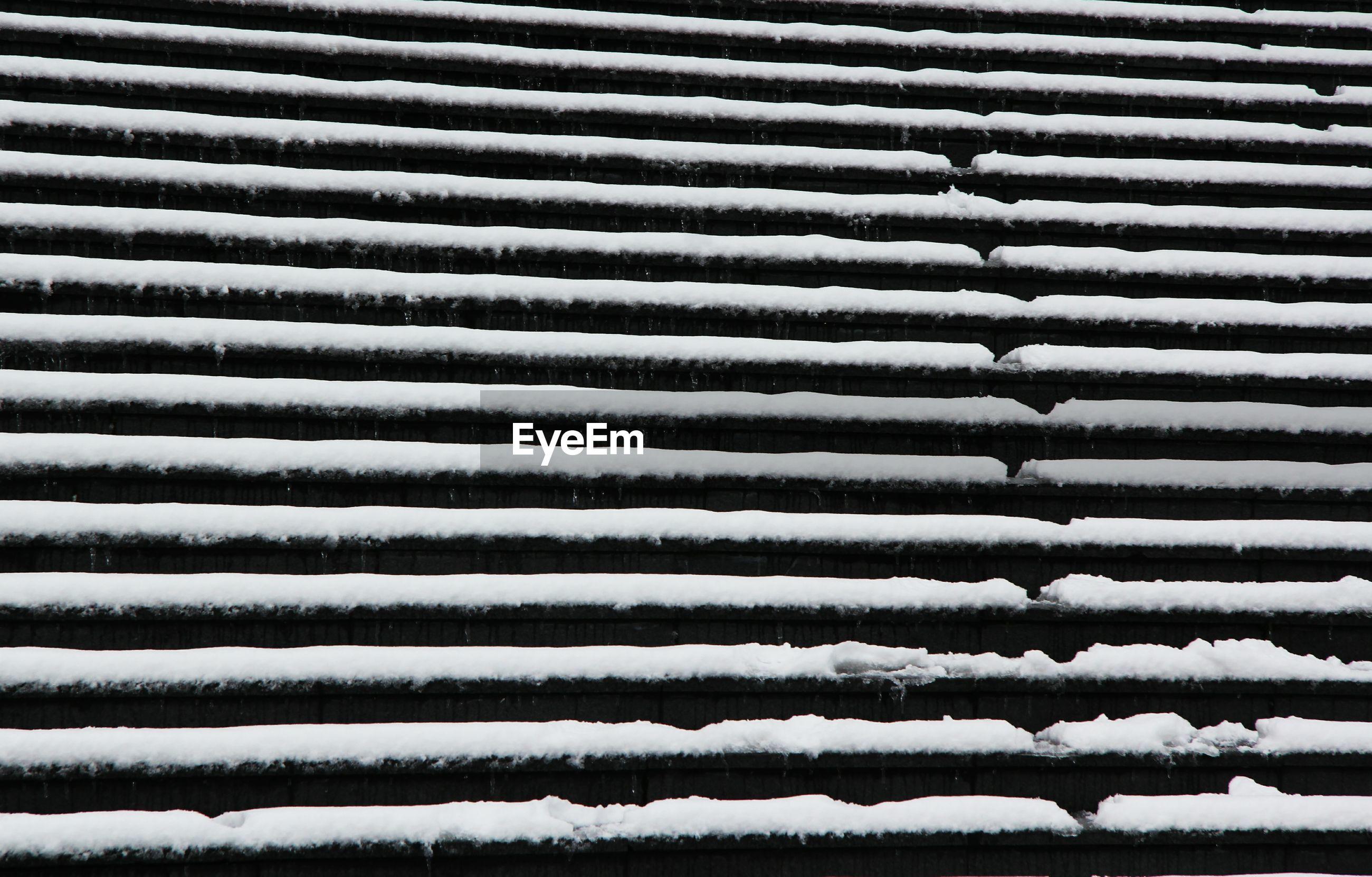 FULL FRAME SHOT OF SNOW ON ZEBRA CROSSING