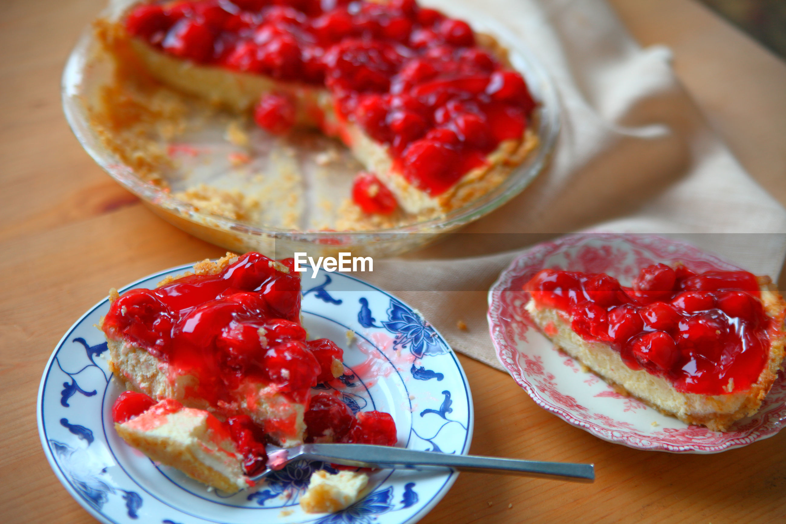 Cherry cream cheese pie, portions served