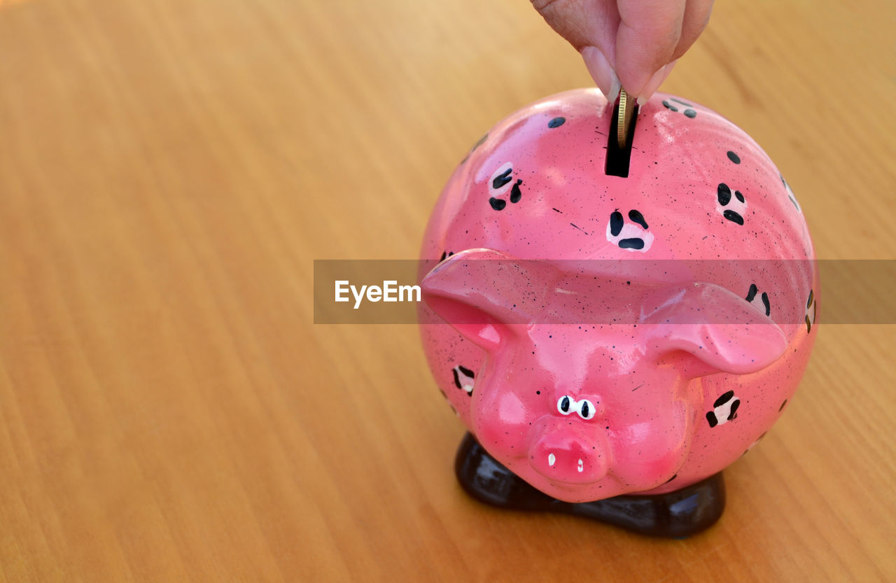 Close-Up Of Hand Putting Coin In Piggy Bank At Table