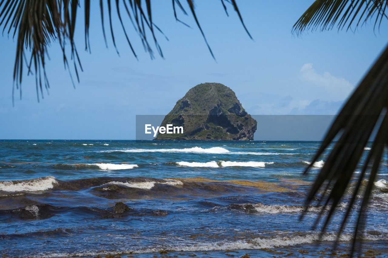 sea, water, sky, horizon, horizon over water, rock, beauty in nature, scenics - nature, land, motion, beach, rock - object, nature, solid, tranquility, wave, tranquil scene, no people, day, outdoors, palm leaf