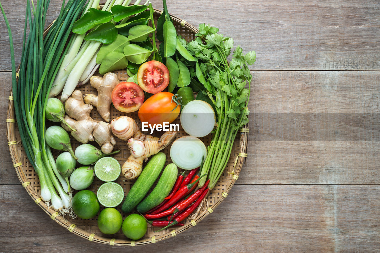 Directly above shot of food arranged in basket on table