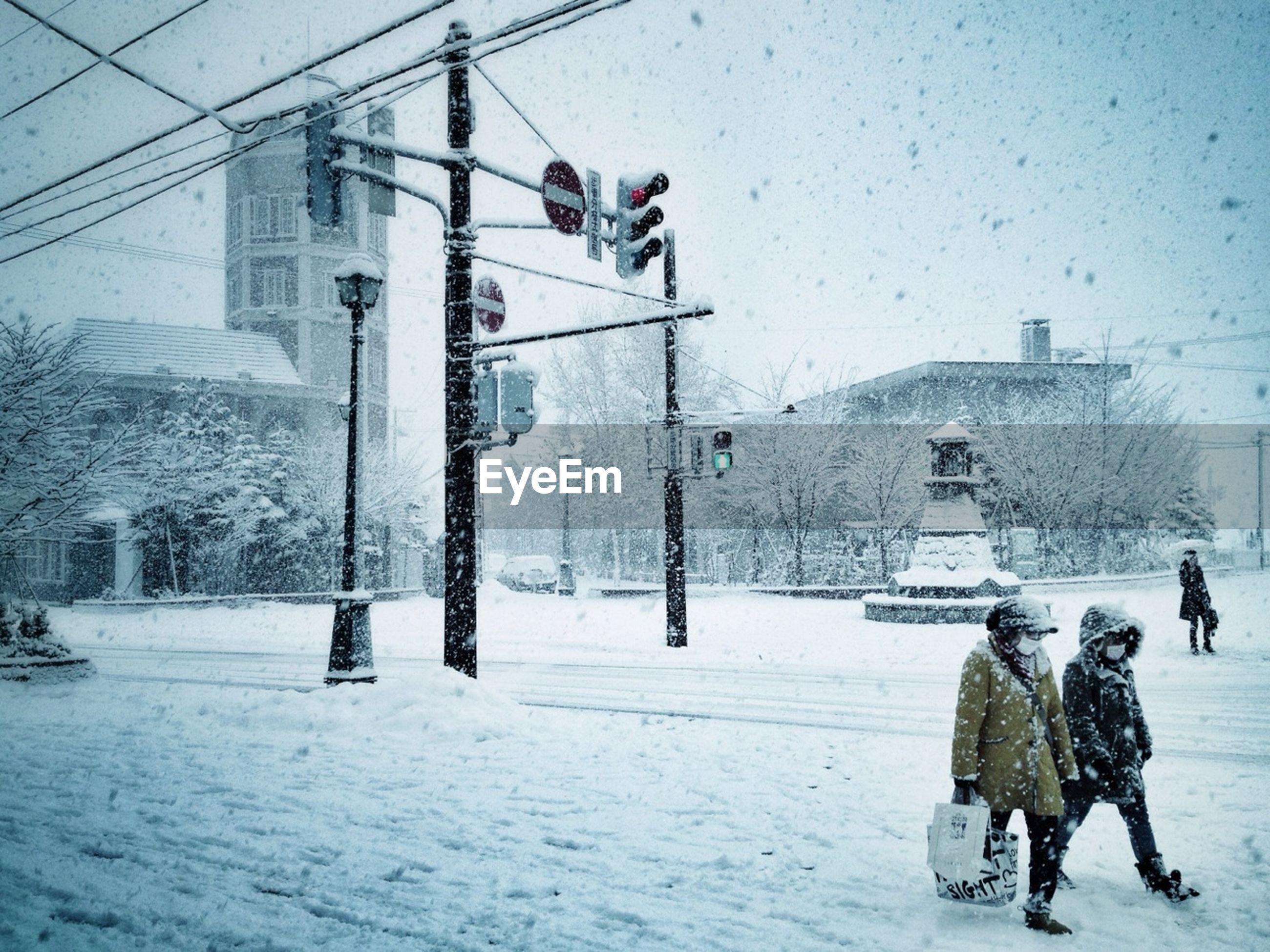Winter scene in town