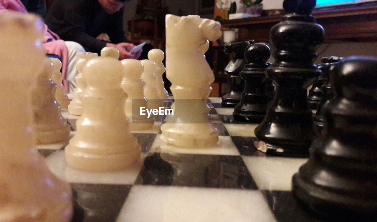 chess, chess piece, strategy, chess board, knight - chess piece, indoors, competition, pawn - chess piece, king - chess piece, leisure games, queen - chess piece, checked pattern, arrangement, close-up, no people, intelligence, day