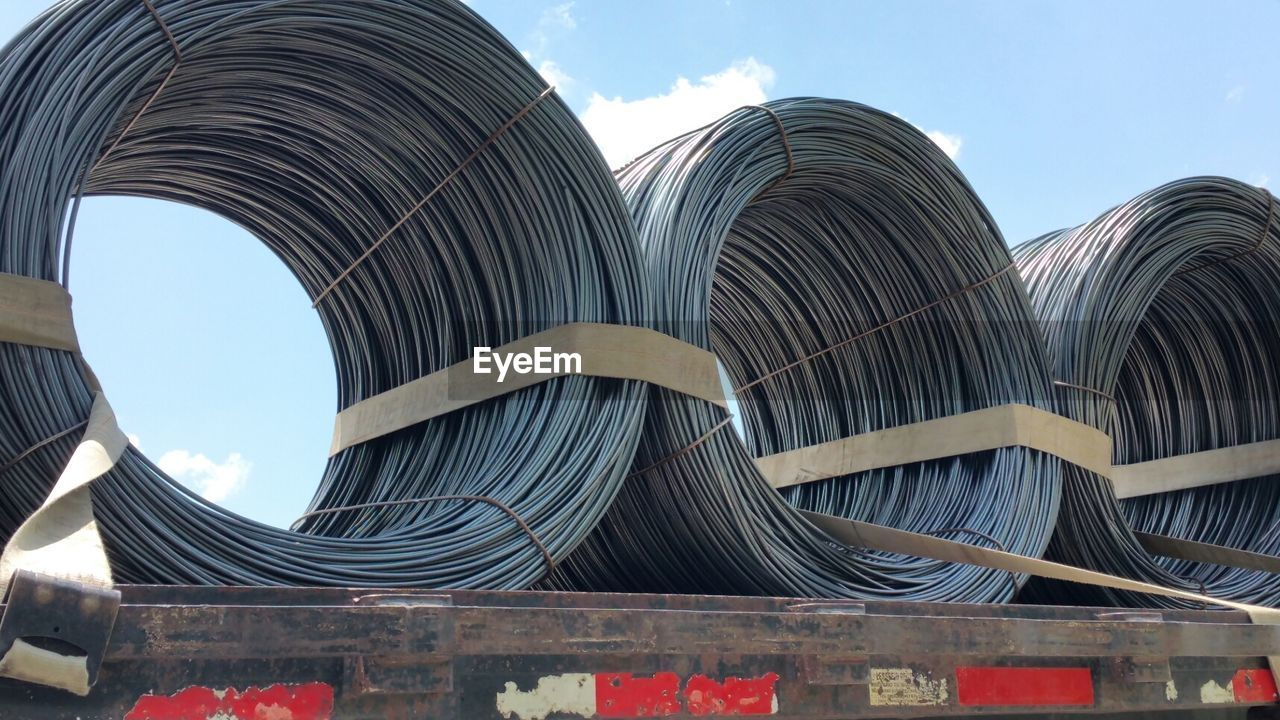 Low Angle View Of Coiled Metallic Wires