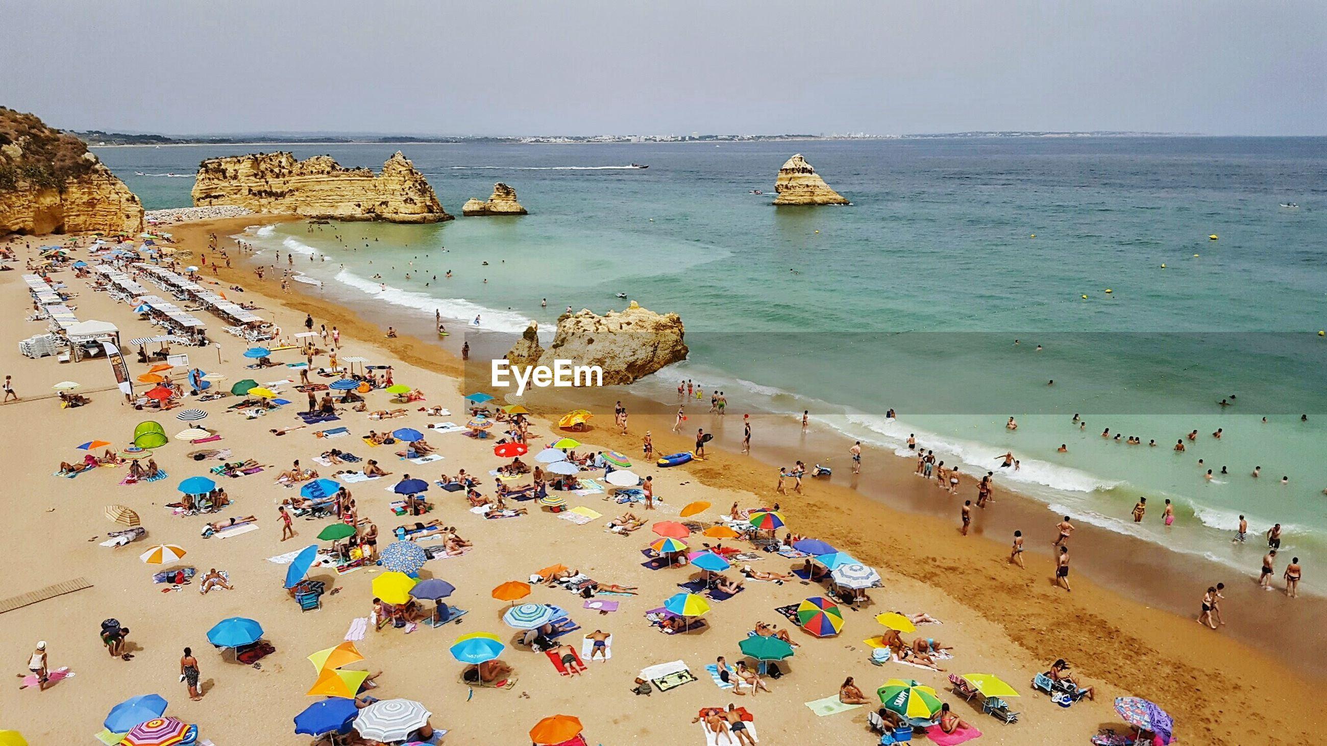 High angle view of people enjoying at praia dona ana