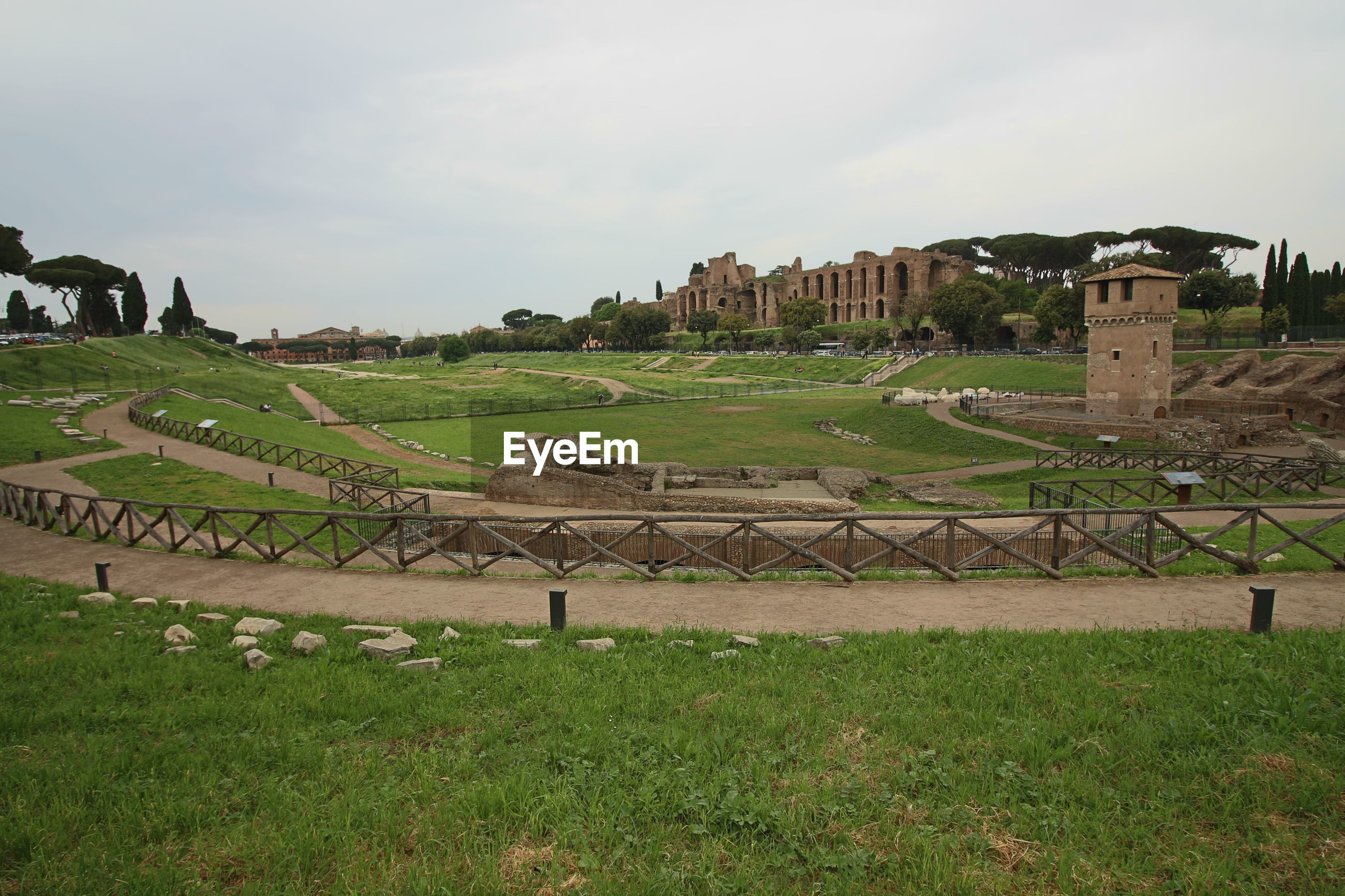 VIEW OF OLD RUIN ON FIELD