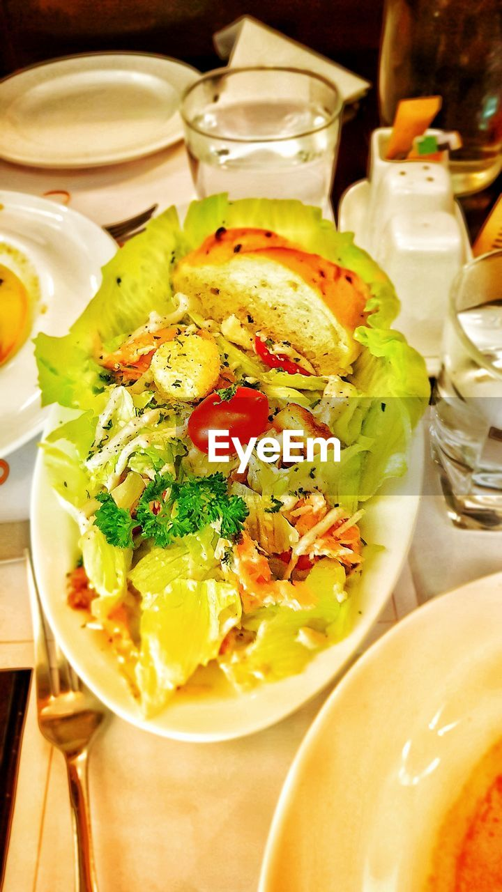 food and drink, plate, food, ready-to-eat, freshness, healthy eating, indoors, serving size, fork, bowl, no people, close-up, high angle view, vegetable, meal, day