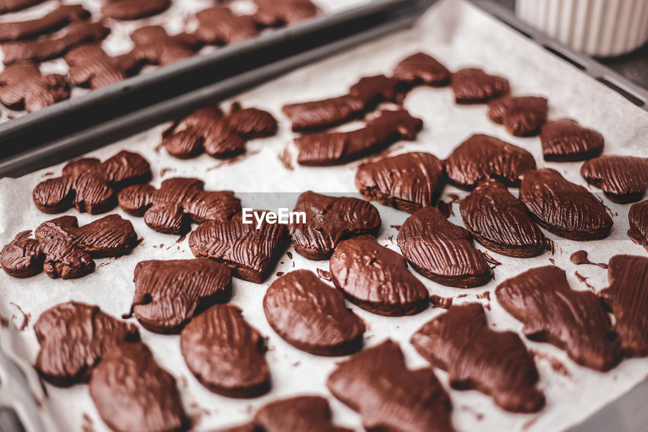 Close-up of chocolate cookies in baking sheet