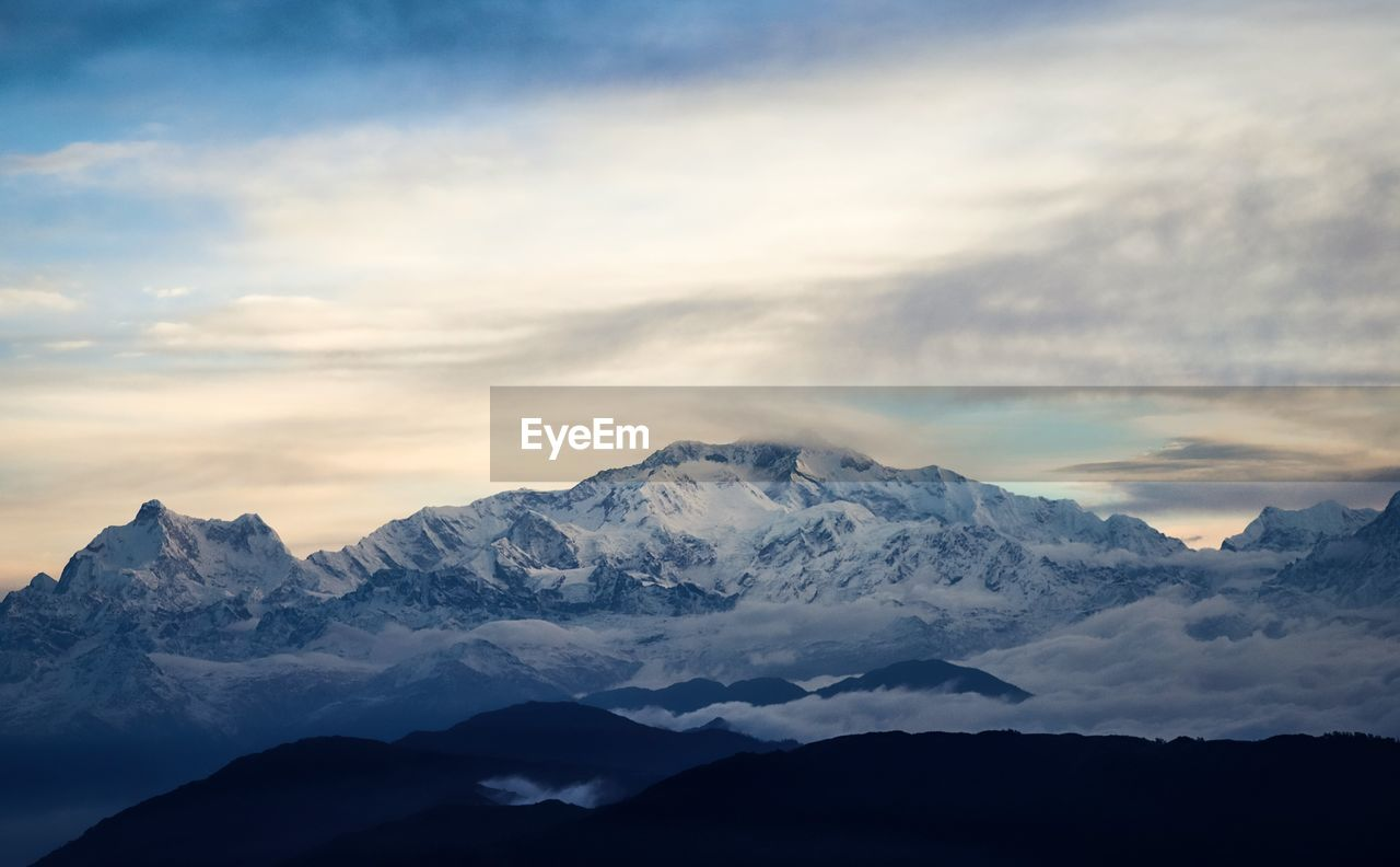 scenics - nature, mountain, beauty in nature, sky, cloud - sky, tranquil scene, tranquility, mountain range, cold temperature, nature, idyllic, snow, sunset, environment, winter, non-urban scene, no people, landscape, snowcapped mountain, mountain peak, outdoors