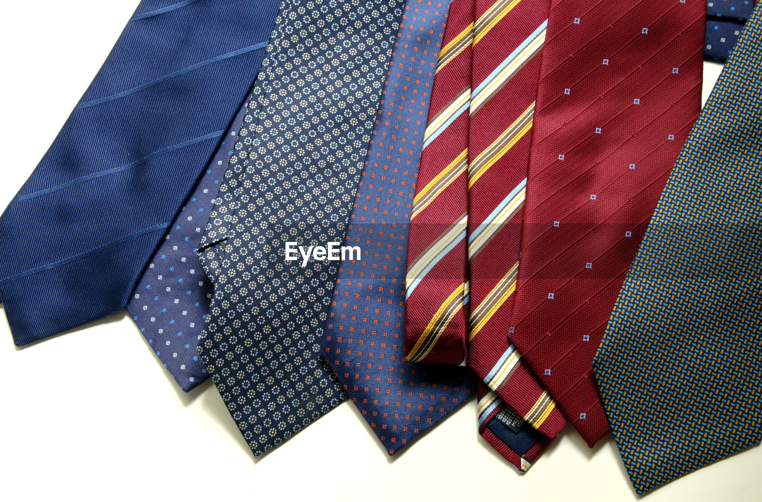 High angle view of various neckties on table