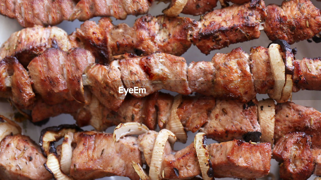 FULL FRAME SHOT OF MEAT ON BARBECUE