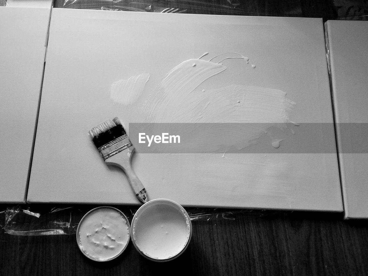 High angle view of paint brush on table
