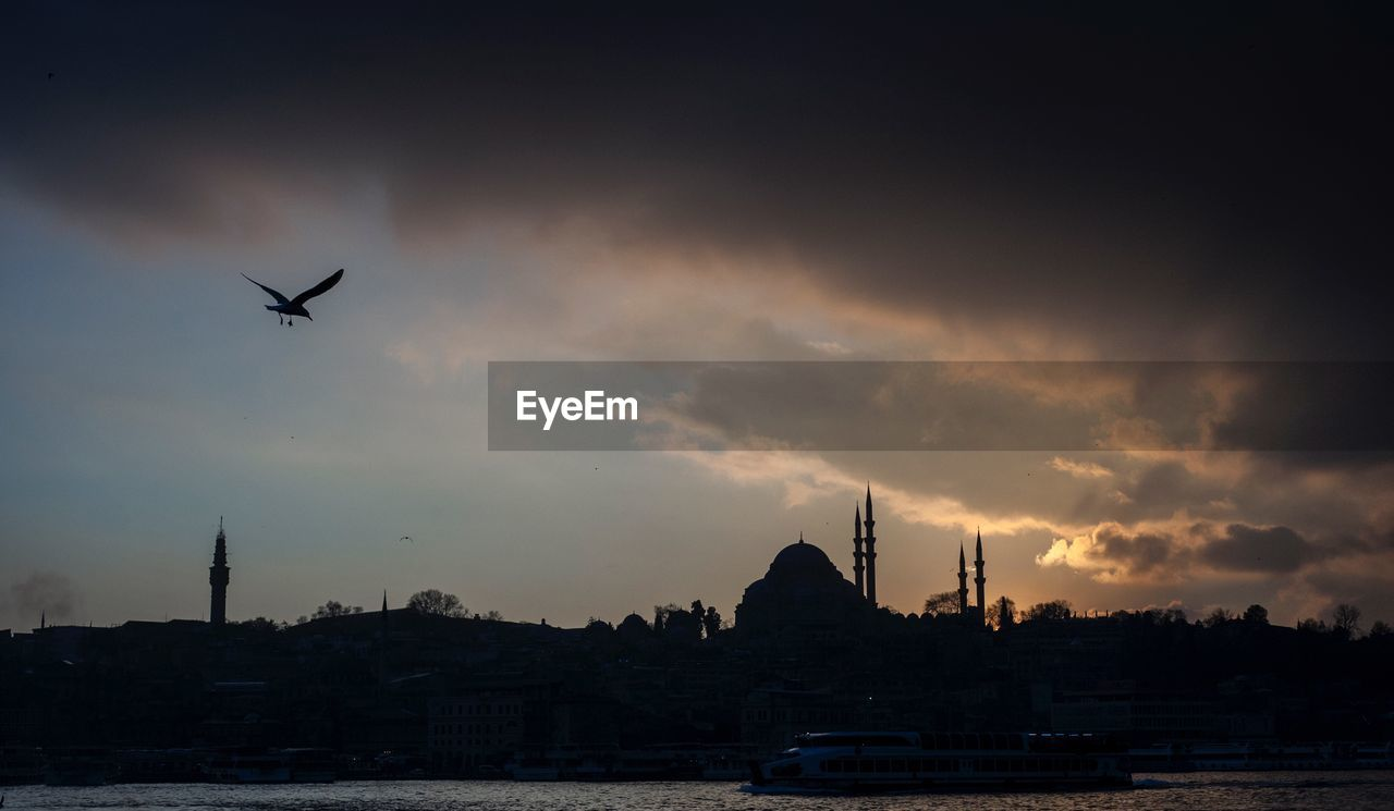 Silhouette Mosque And Bird Against Sky During Dusk