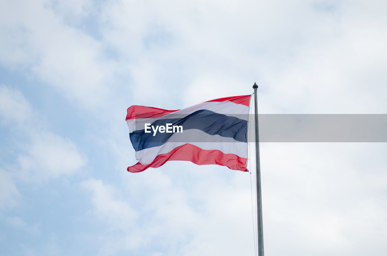 Low Angle View Of Fluttering Flag