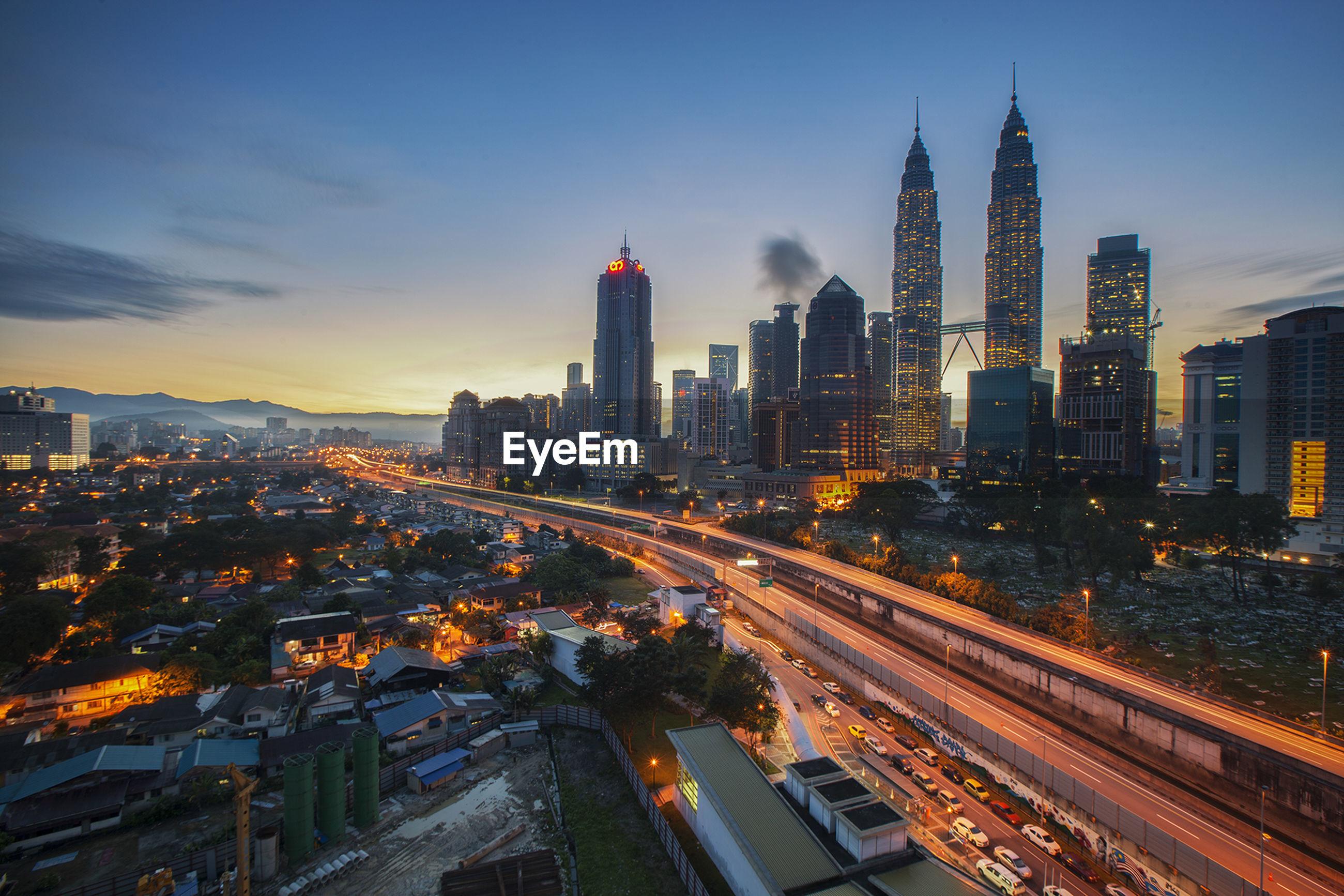 Kuala lumpur cityscape at sunset
