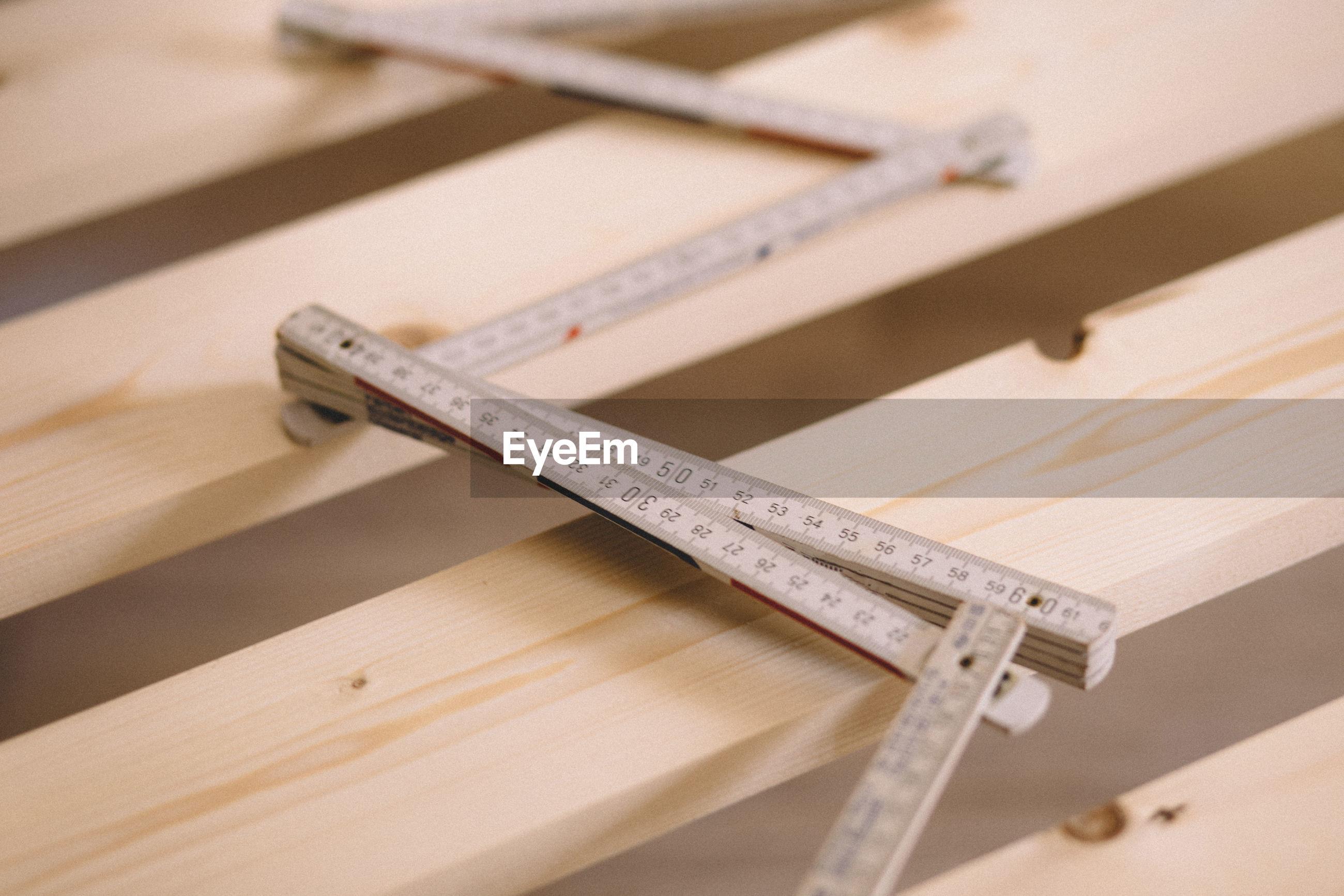 Instrument of measurement on workbench in workshop