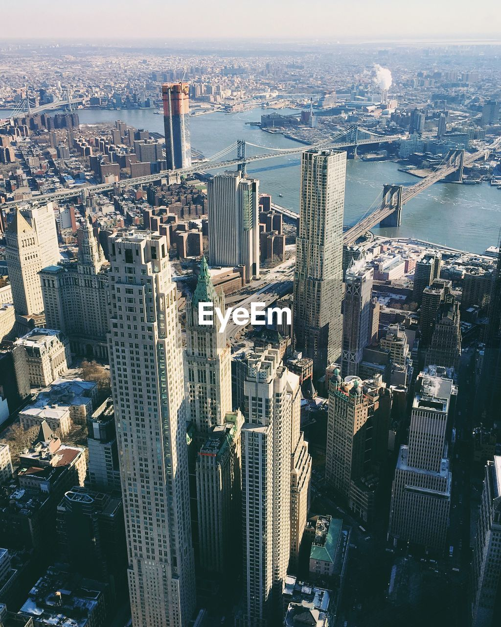 High Angle View Of Towers At Manhattan In City