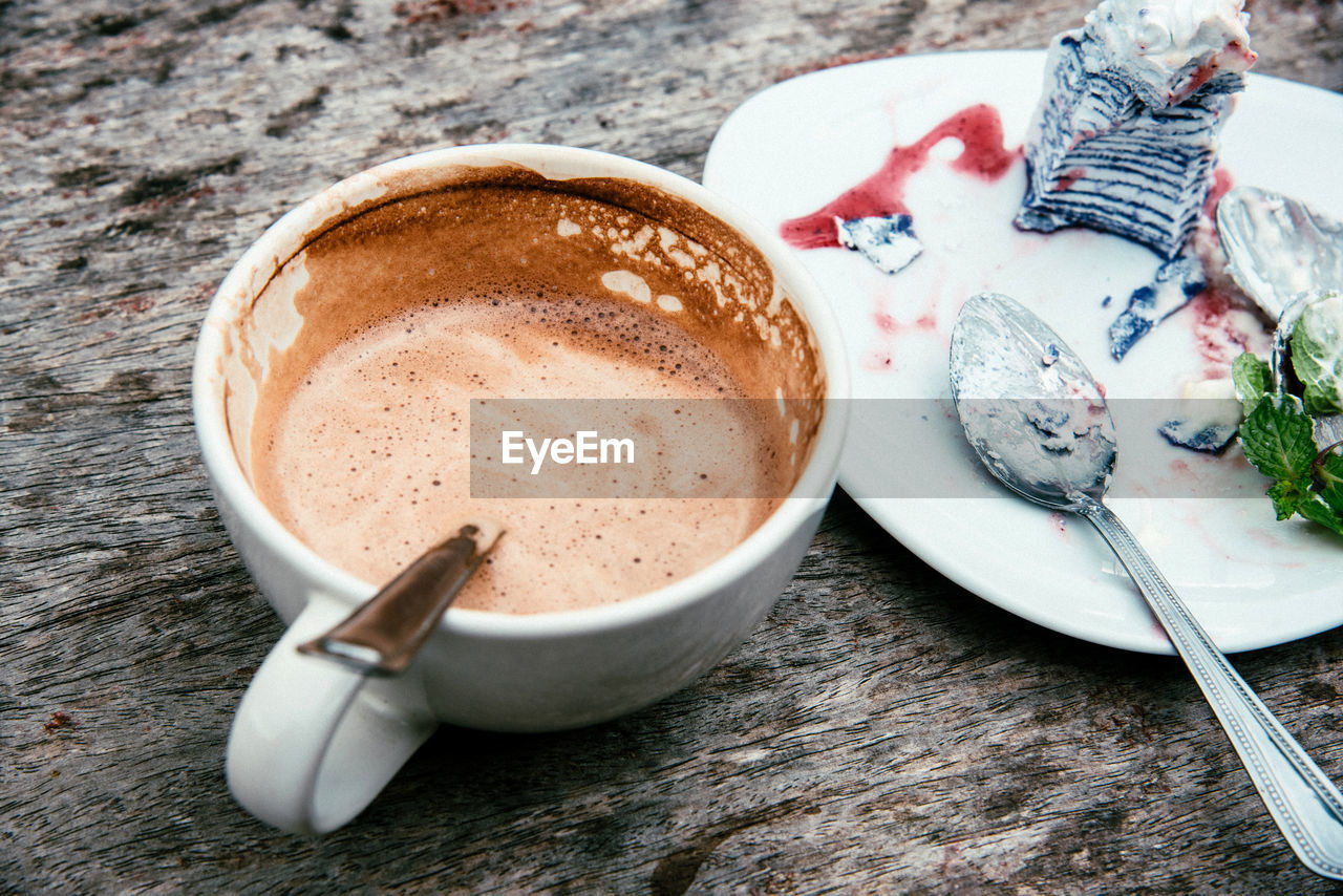 coffee, food and drink, drink, coffee - drink, mug, cup, refreshment, still life, coffee cup, table, eating utensil, hot drink, indoors, kitchen utensil, food, spoon, no people, freshness, sweet food, high angle view, frothy drink, crockery, latte, temptation, non-alcoholic beverage