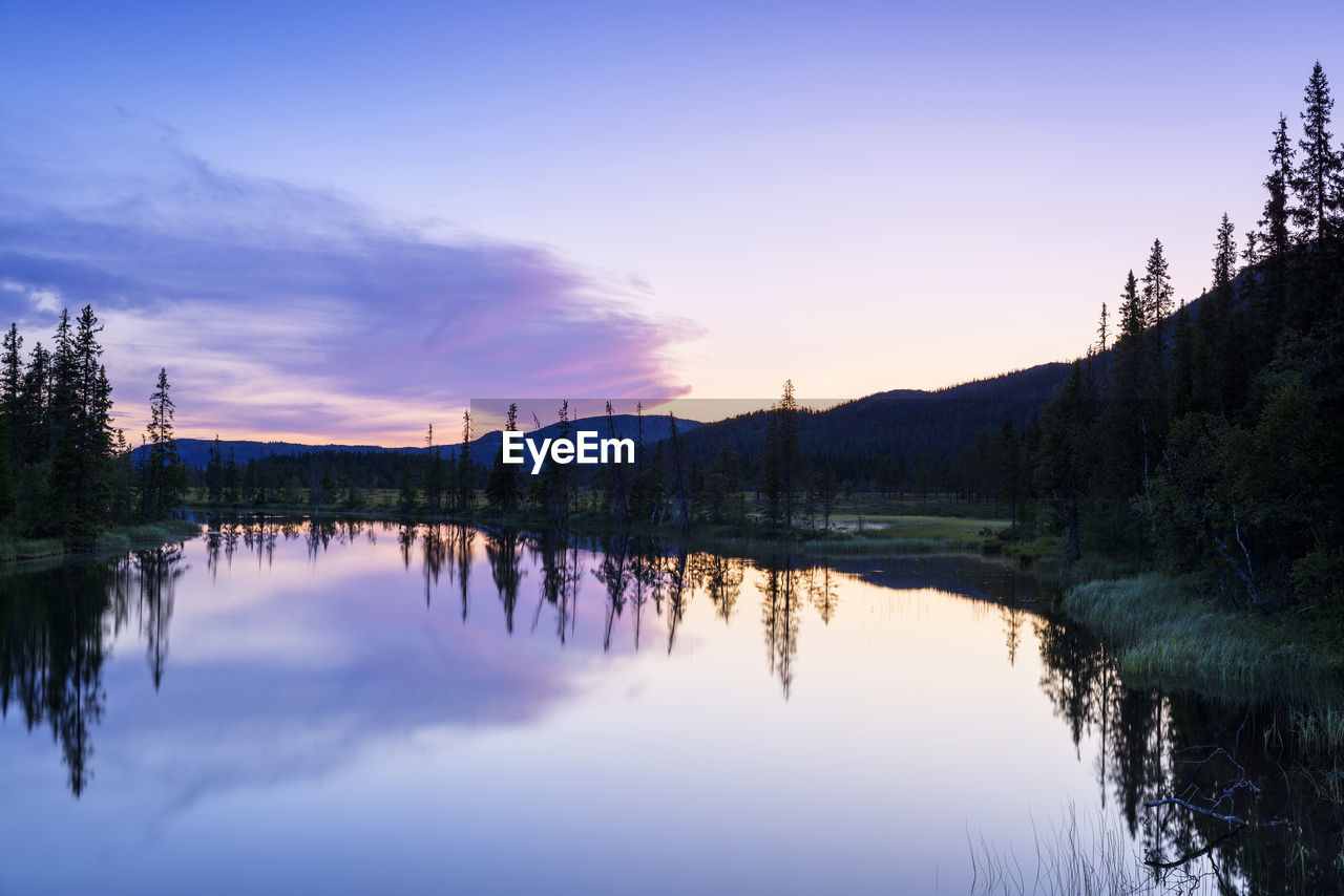sky, reflection, water, tree, tranquility, lake, scenics - nature, beauty in nature, plant, tranquil scene, nature, sunset, cloud - sky, waterfront, no people, non-urban scene, idyllic, symmetry, outdoors, reflection lake