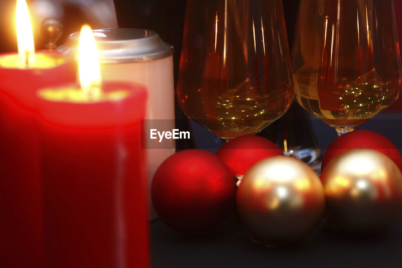 candle, indoors, red, flame, close-up, table, burning, no people, christmas, illuminated, day
