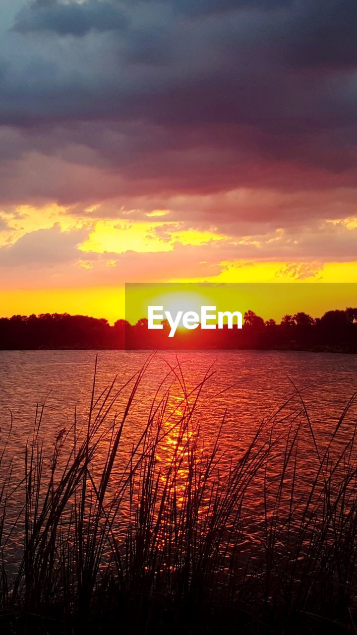 sunset, sky, water, beauty in nature, tranquility, cloud - sky, tranquil scene, orange color, scenics - nature, nature, lake, no people, silhouette, plant, outdoors, idyllic, environment, sun, romantic sky