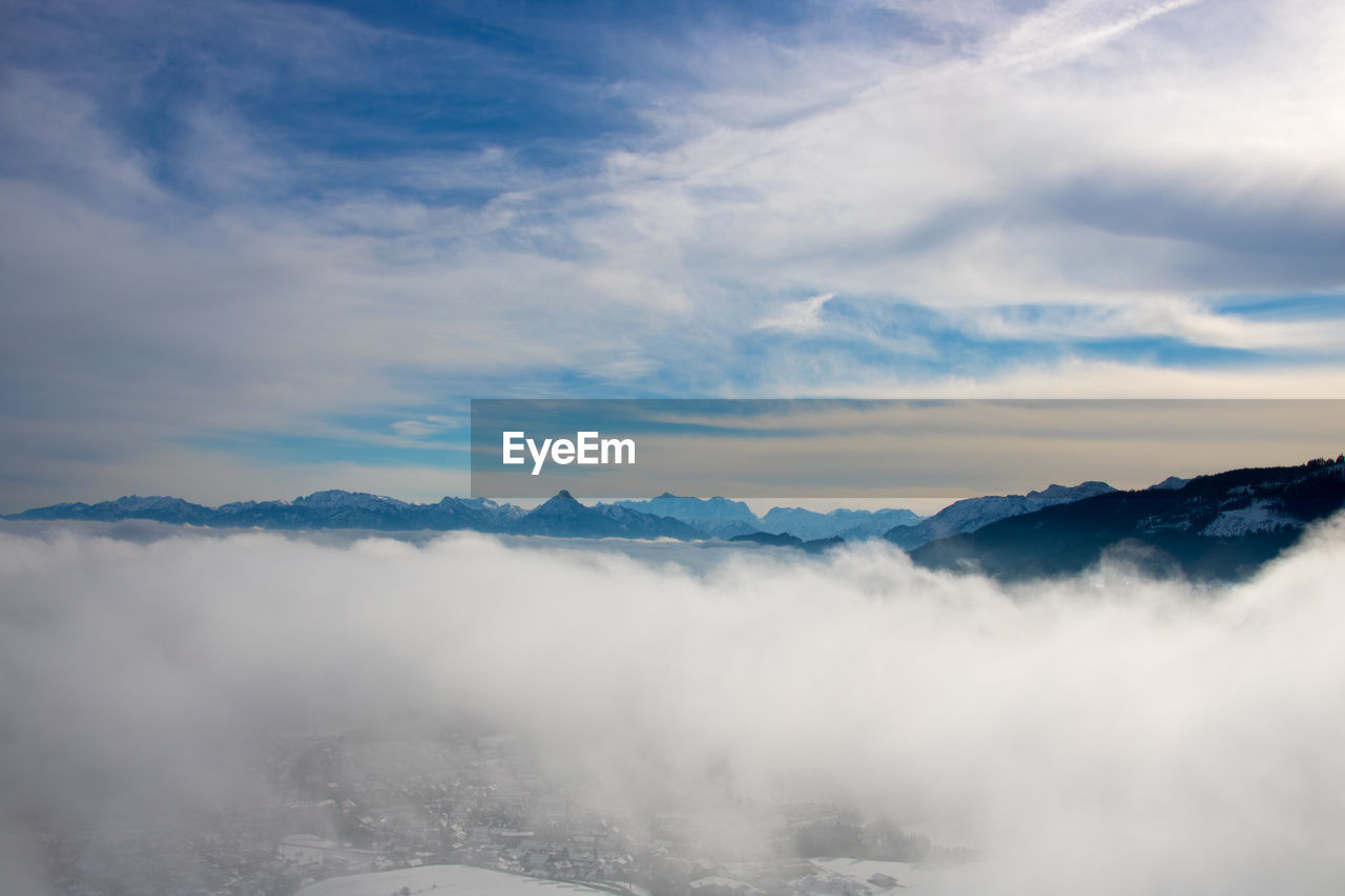 nature, beauty in nature, tranquility, scenics, tranquil scene, idyllic, sky, cloud - sky, no people, outdoors, mountain, fog, day, water