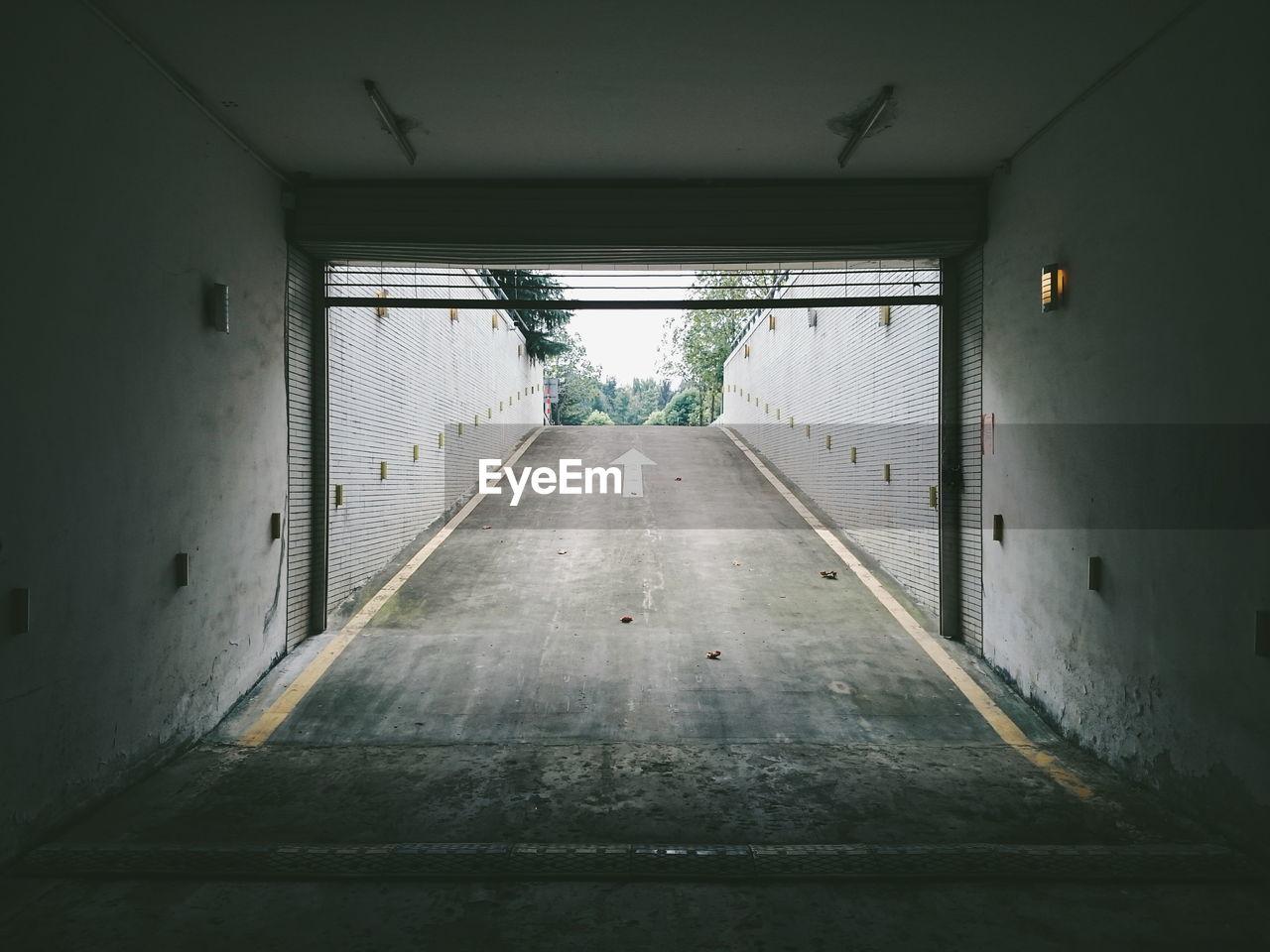 Empty Driveway In Underground Parking Lot