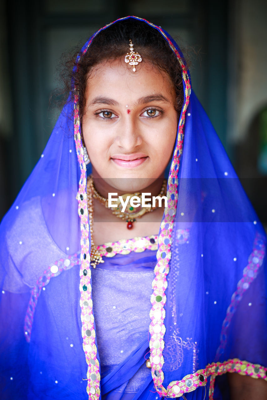 Portrait Of Girl In Blue Sari