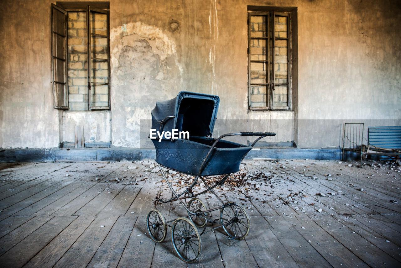 Abandoned baby stroller