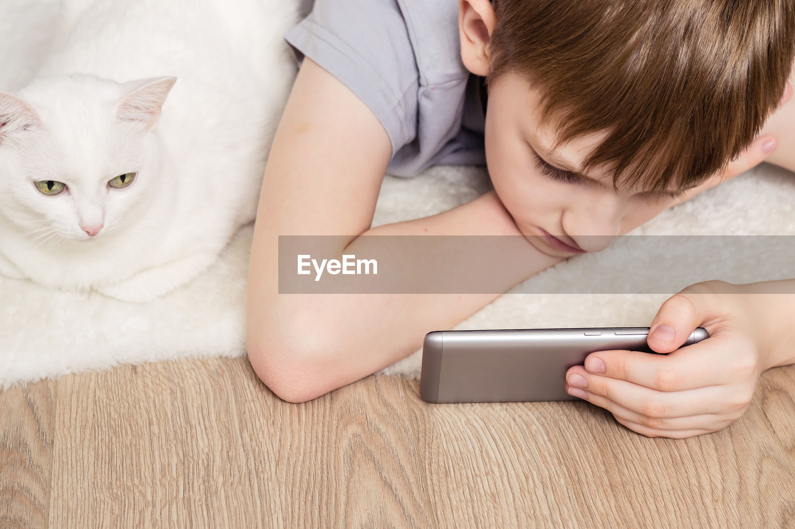 Close-up of boy using mobile phone with cat at home