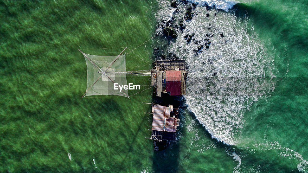 Aerial View Of Fishing Net In Sea
