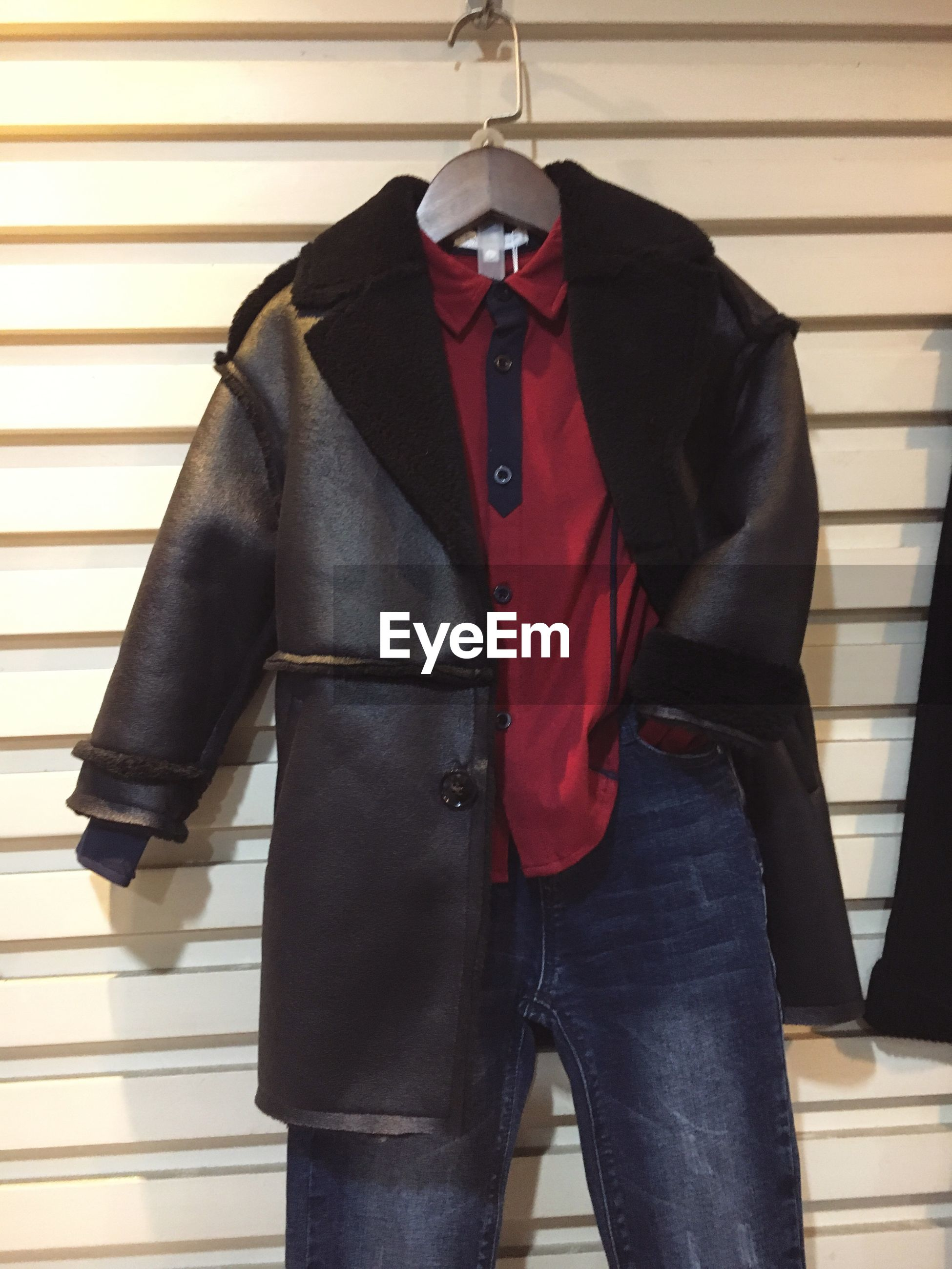 jacket, indoors, red, hanging, no people, day