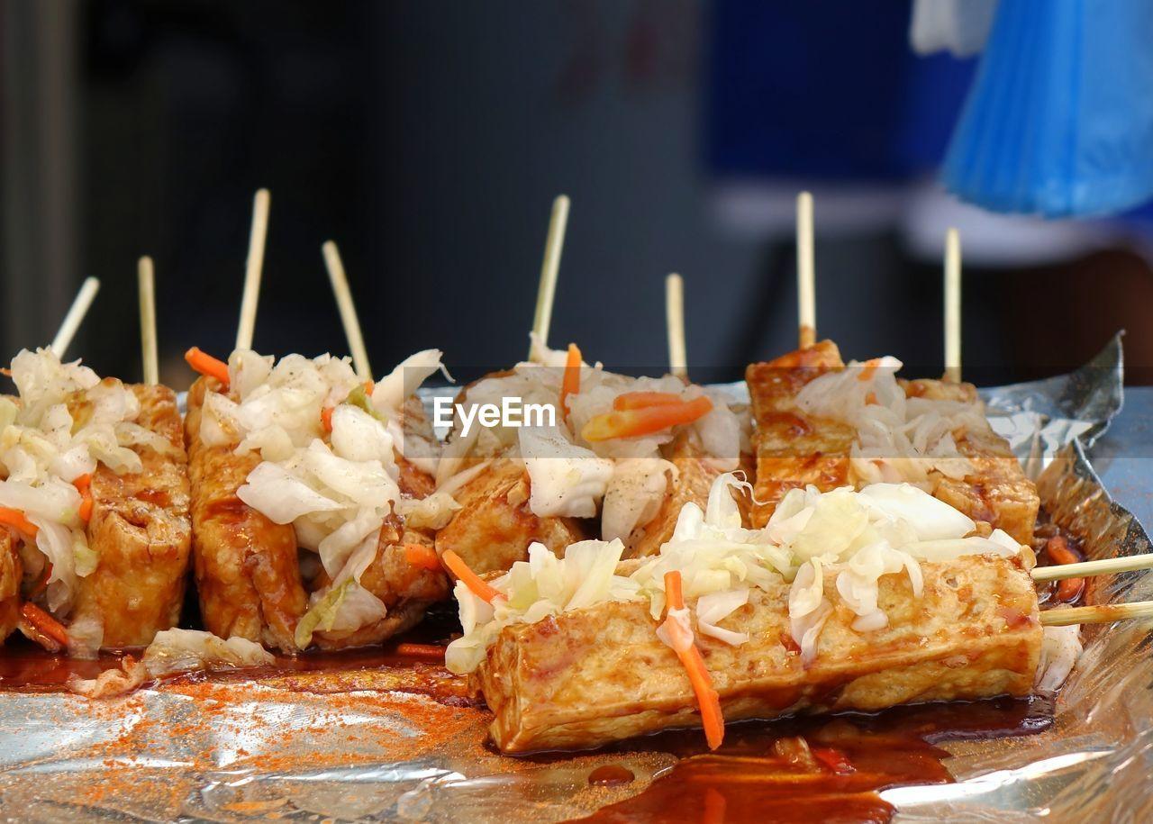 Close-up of deep fried tofu