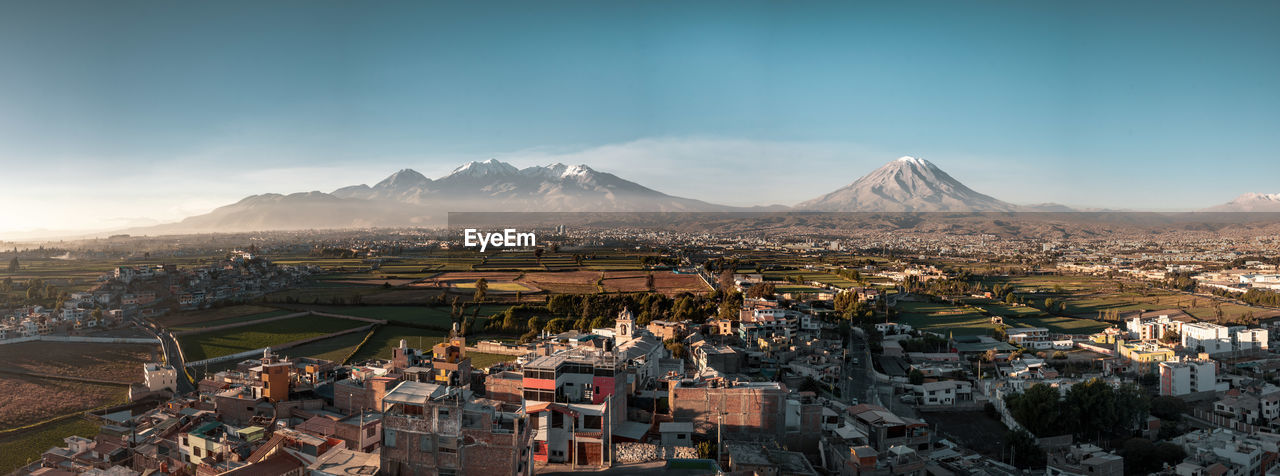 Arequipa views. Architecture City Cityscape Clear Sky Latin America Misti Panorama Built Structure Day Environment Idyllic Mountain Mountain Peak Mountain Range No People Outdoors Scenics Snowcapped Mountain South America Street Tranquil Scene Travel Destinations Urban Urban Skyline Volcano