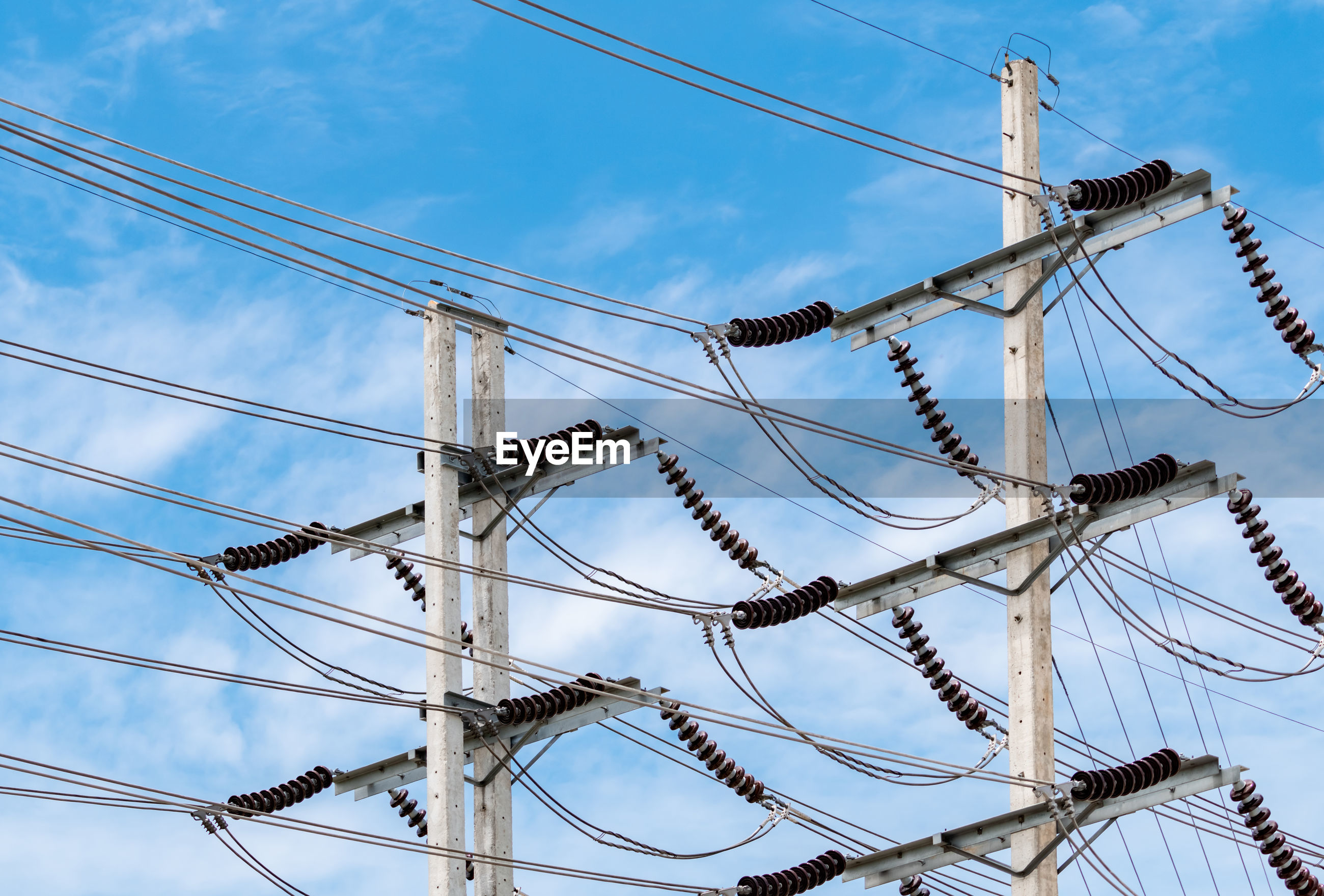 Three-phase electric power for transfer power by electrical grids. electric power.