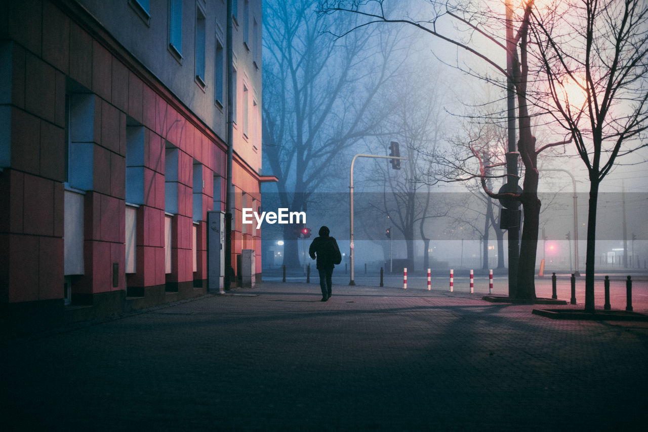 Rear View Of Person Walking In City At Night