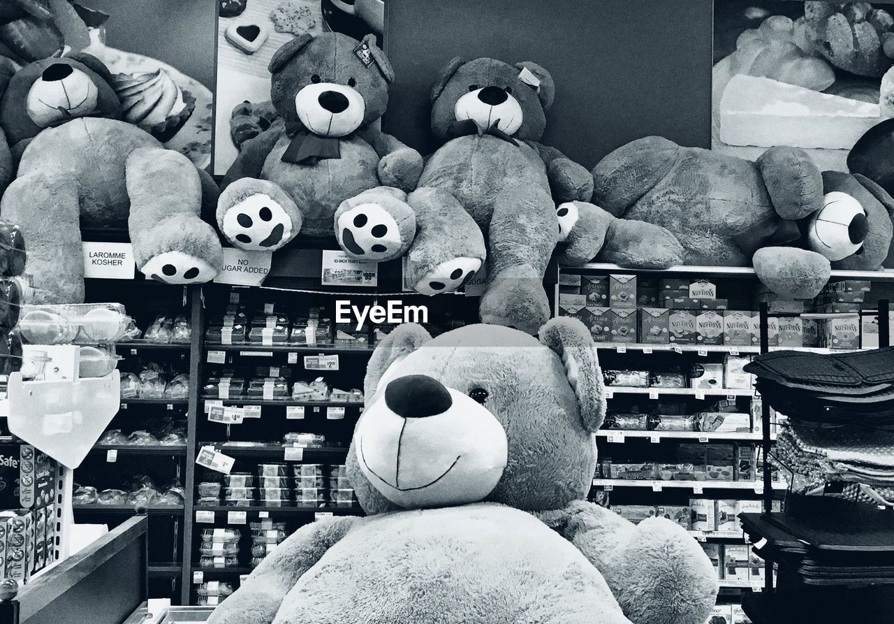 human representation, large group of objects, no people, sculpture, for sale, stuffed toy, indoors, statue, retail, shelf, teddy bear, day, close-up