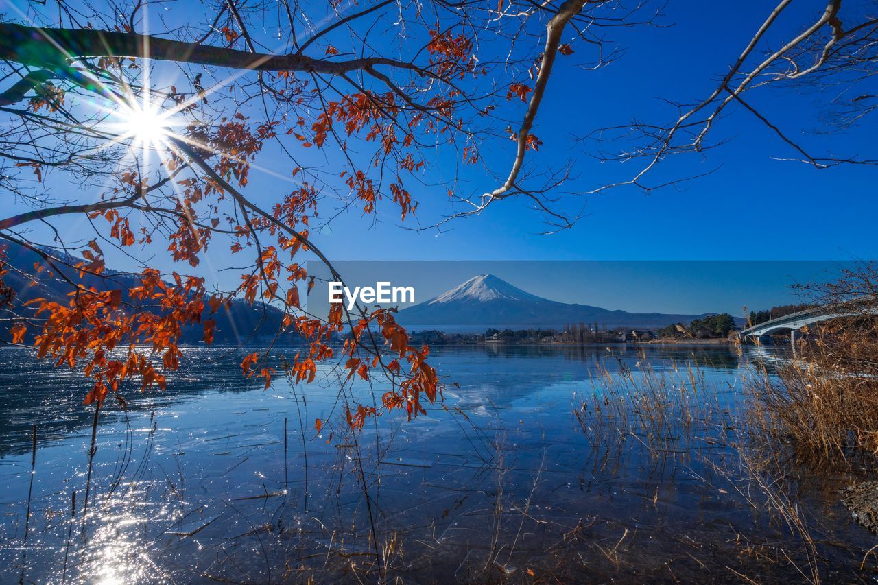 SCENIC VIEW OF LAKE AGAINST MOUNTAIN DURING WINTER