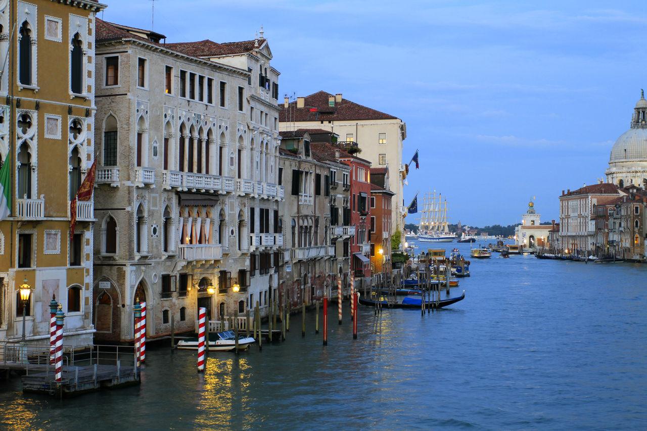 Gondolas Moored In Canal By Church Of San Giorgio Maggiore