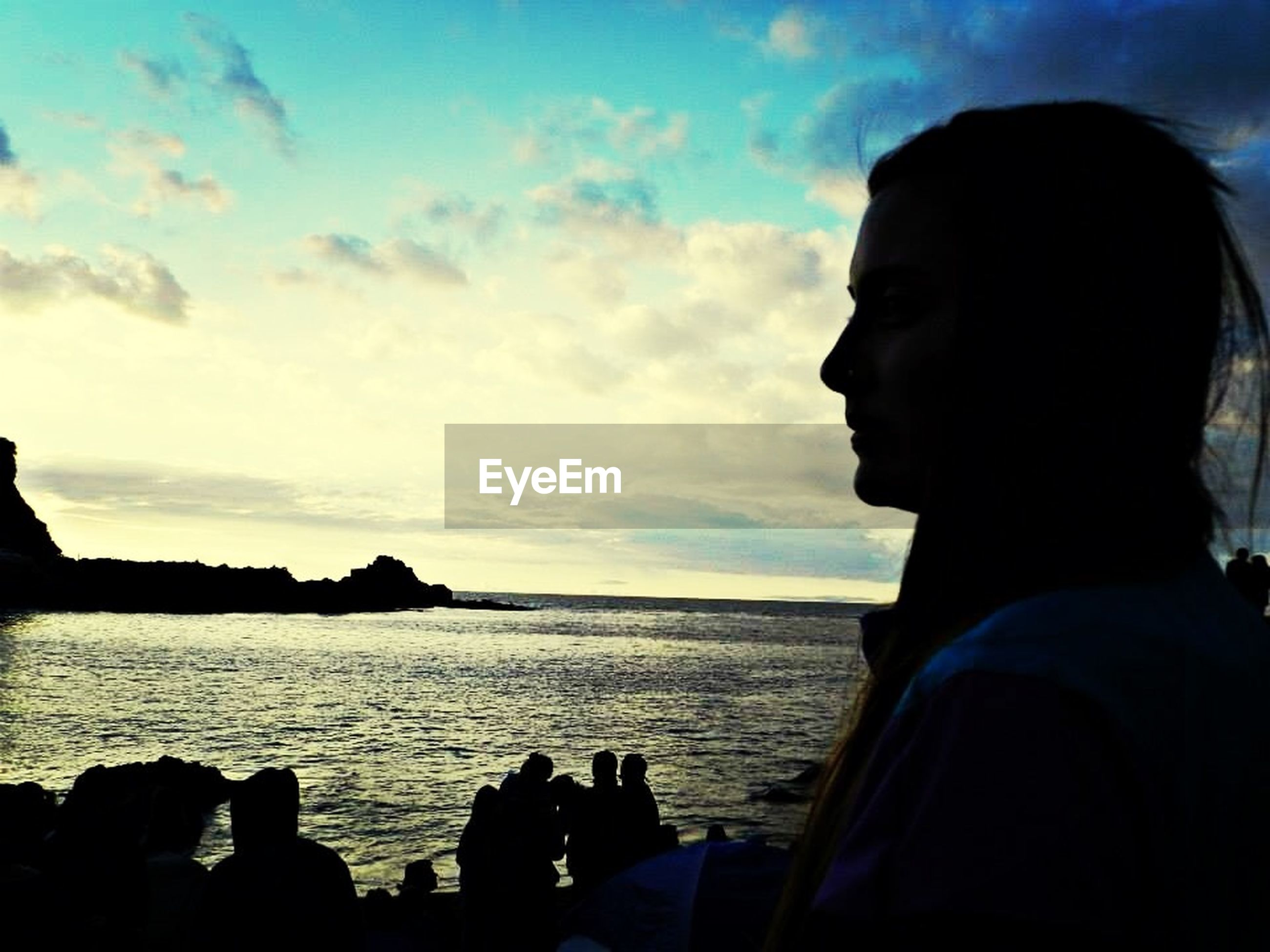 water, sea, sky, lifestyles, headshot, leisure activity, cloud - sky, silhouette, cloud, men, horizon over water, nature, scenics, beauty in nature, sunset, head and shoulders, rock - object, person