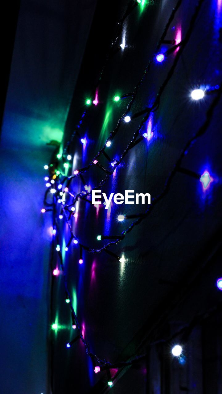 illuminated, lighting equipment, decoration, night, indoors, glowing, arts culture and entertainment, multi colored, nightlife, hanging, nightclub, close-up, no people, sphere, blue, light, electricity, electric light, light - natural phenomenon, celebration, purple, disco lights, ceiling