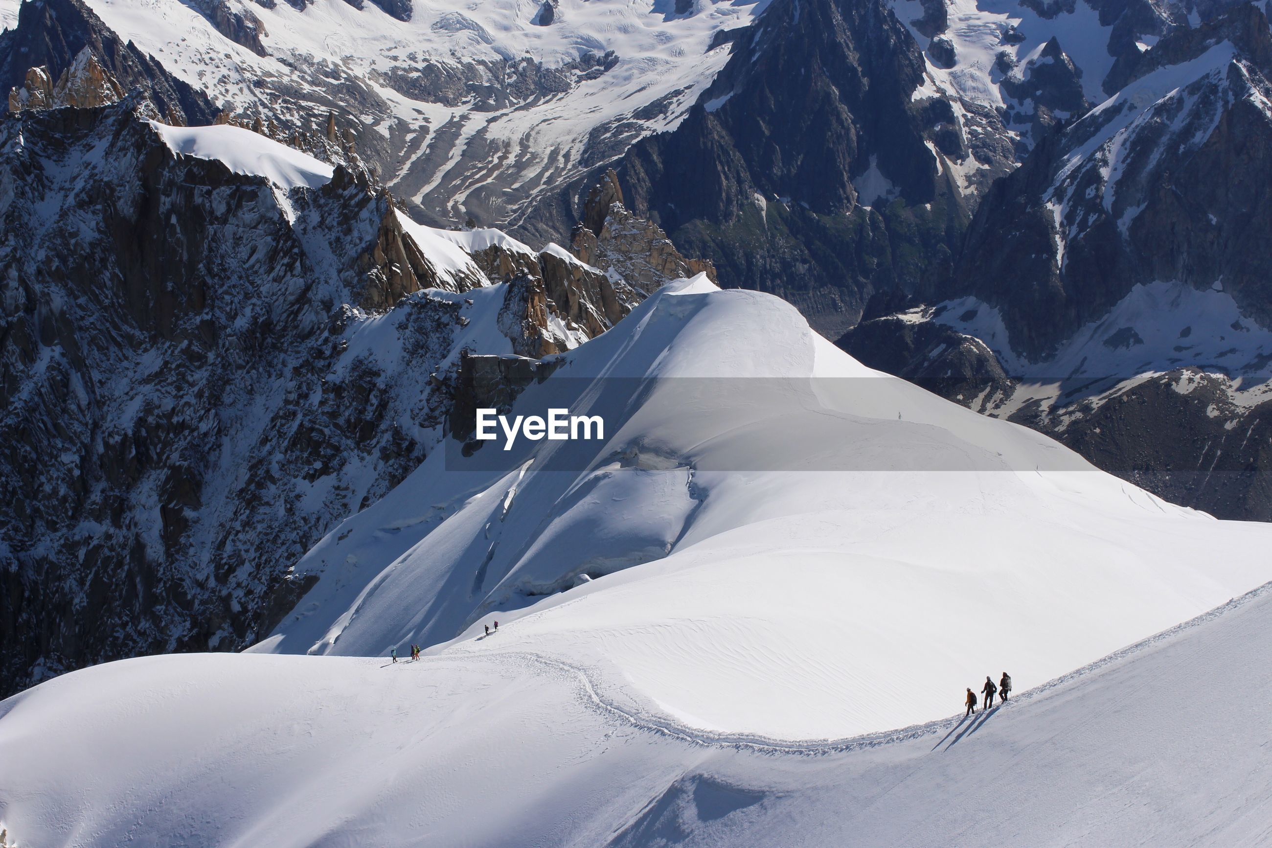 High angle view of people skiing on mont blanc during winter