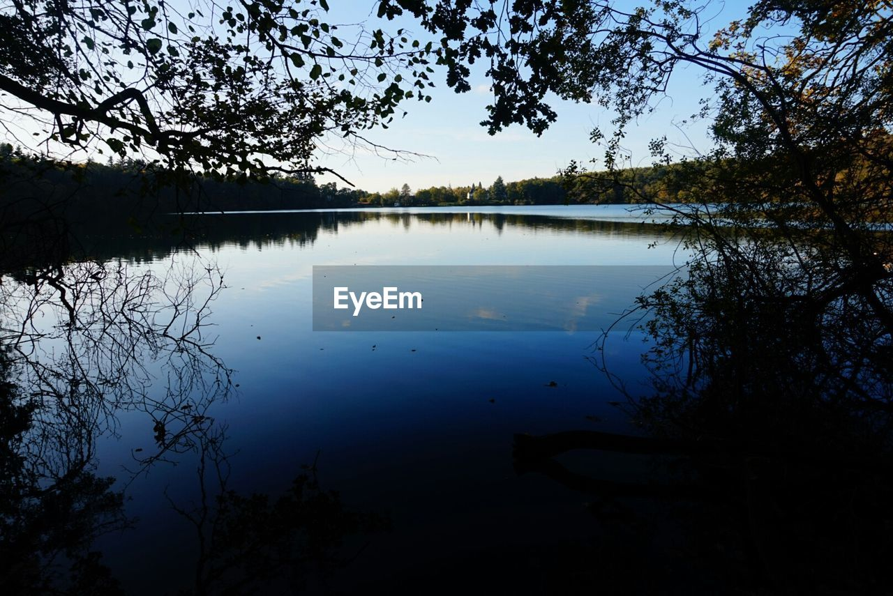 SCENIC VIEW OF CALM LAKE AGAINST SKY