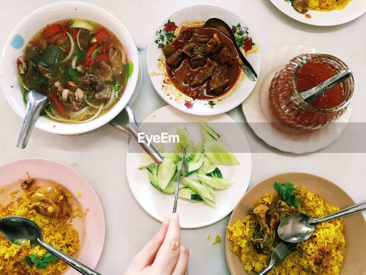food, ready-to-eat, food and drink, freshness, table, bowl, healthy eating, eating utensil, plate, indoors, spoon, kitchen utensil, wellbeing, serving size, high angle view, meal, meat, directly above, soup, asian food, garnish