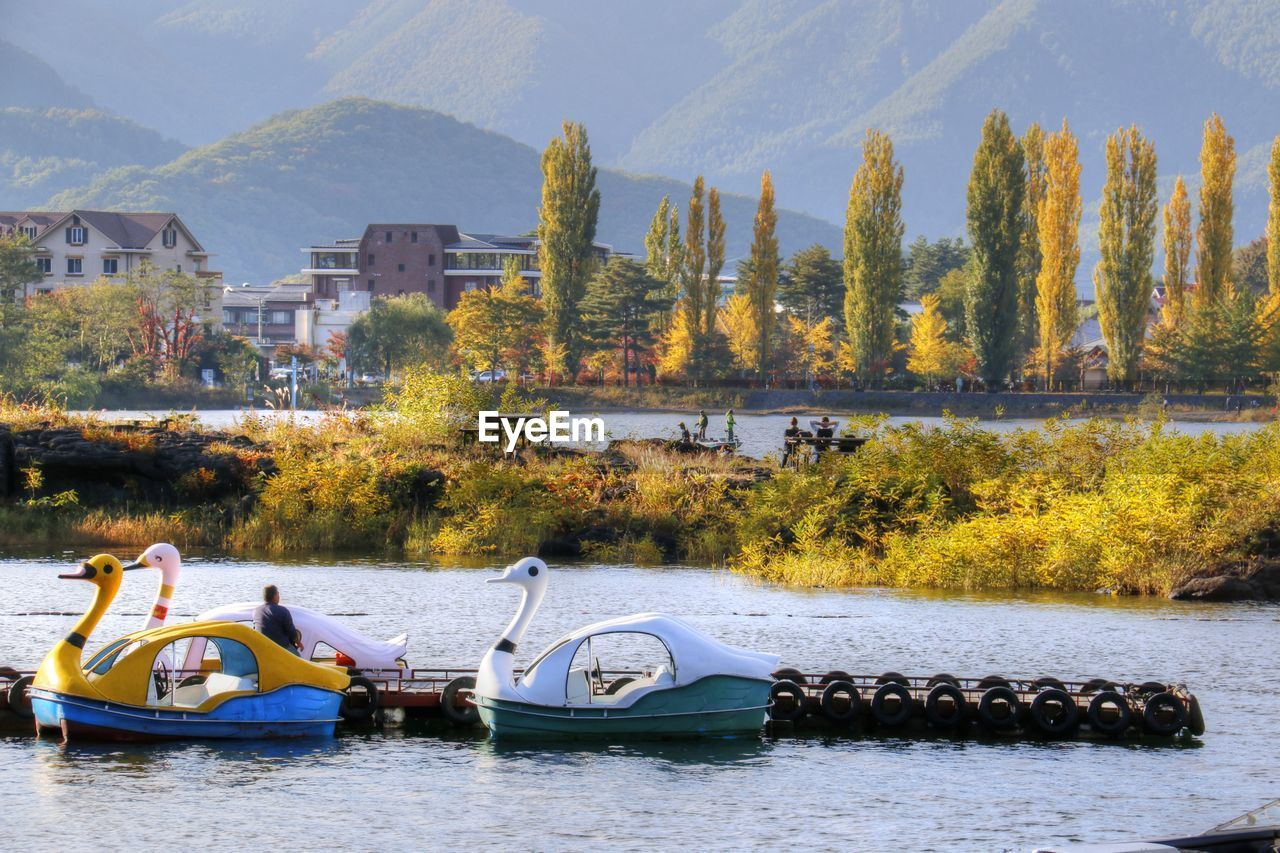 tree, autumn, nature, change, beauty in nature, water, mountain, day, outdoors, real people, scenics, mode of transport, transportation, waterfront, river, nautical vessel, leaf, sky