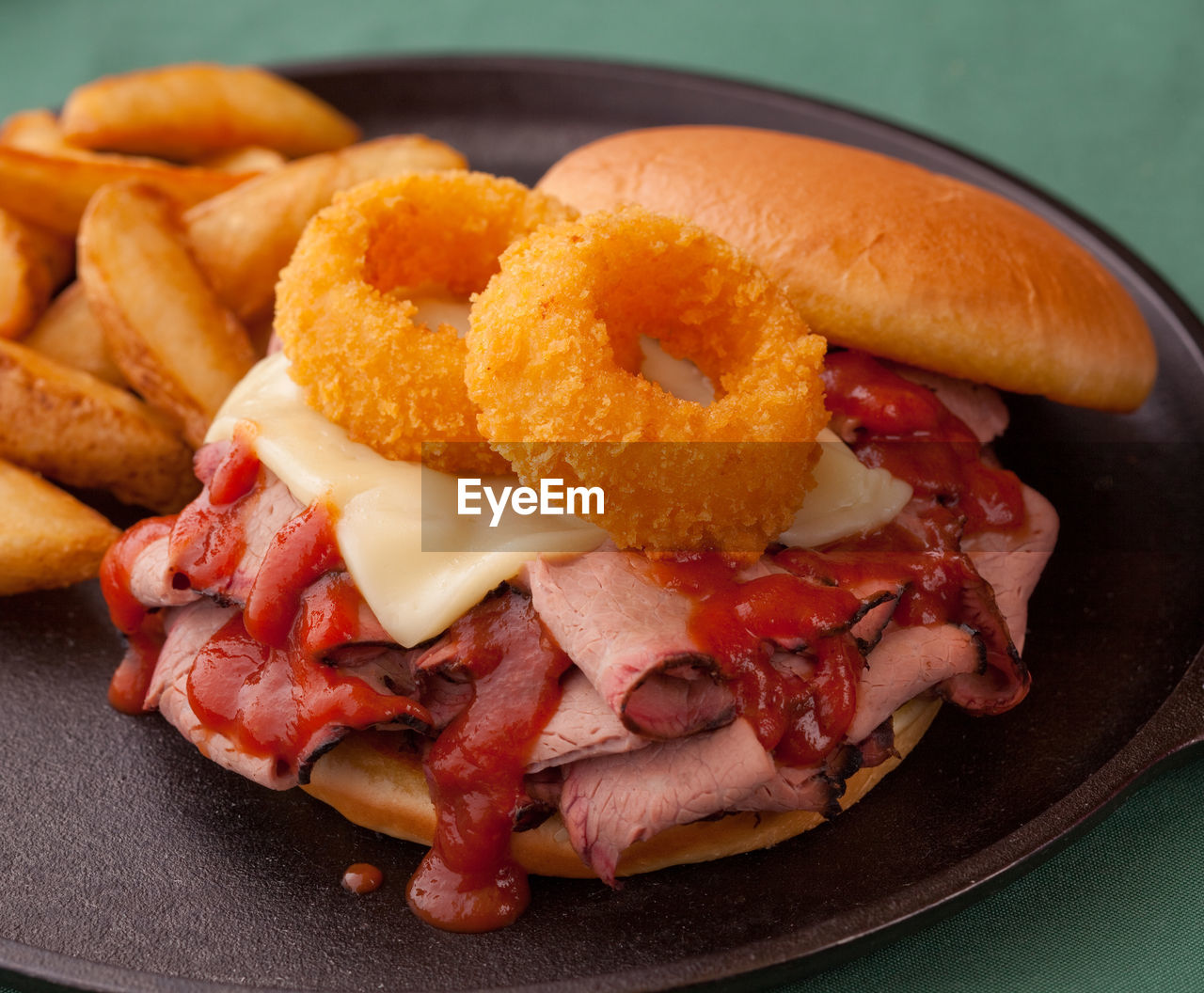 High Angle View Of Beef Sandwich On Plate