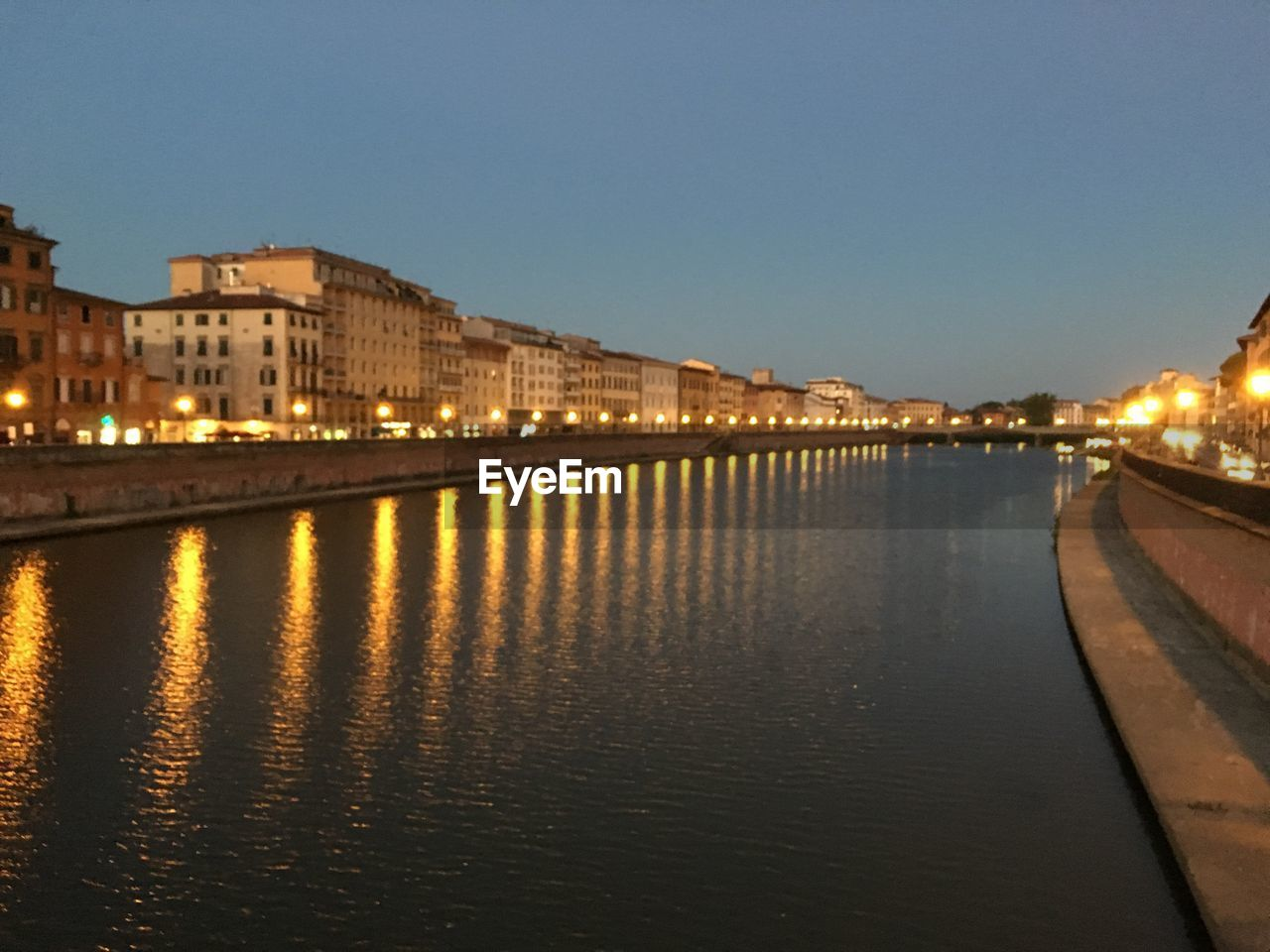architecture, built structure, building exterior, sky, water, illuminated, reflection, nature, no people, copy space, city, waterfront, river, clear sky, connection, night, dusk, building, transportation, outdoors