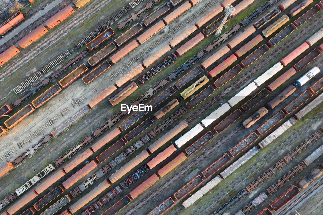 Aerial view of freight train at shunting yard
