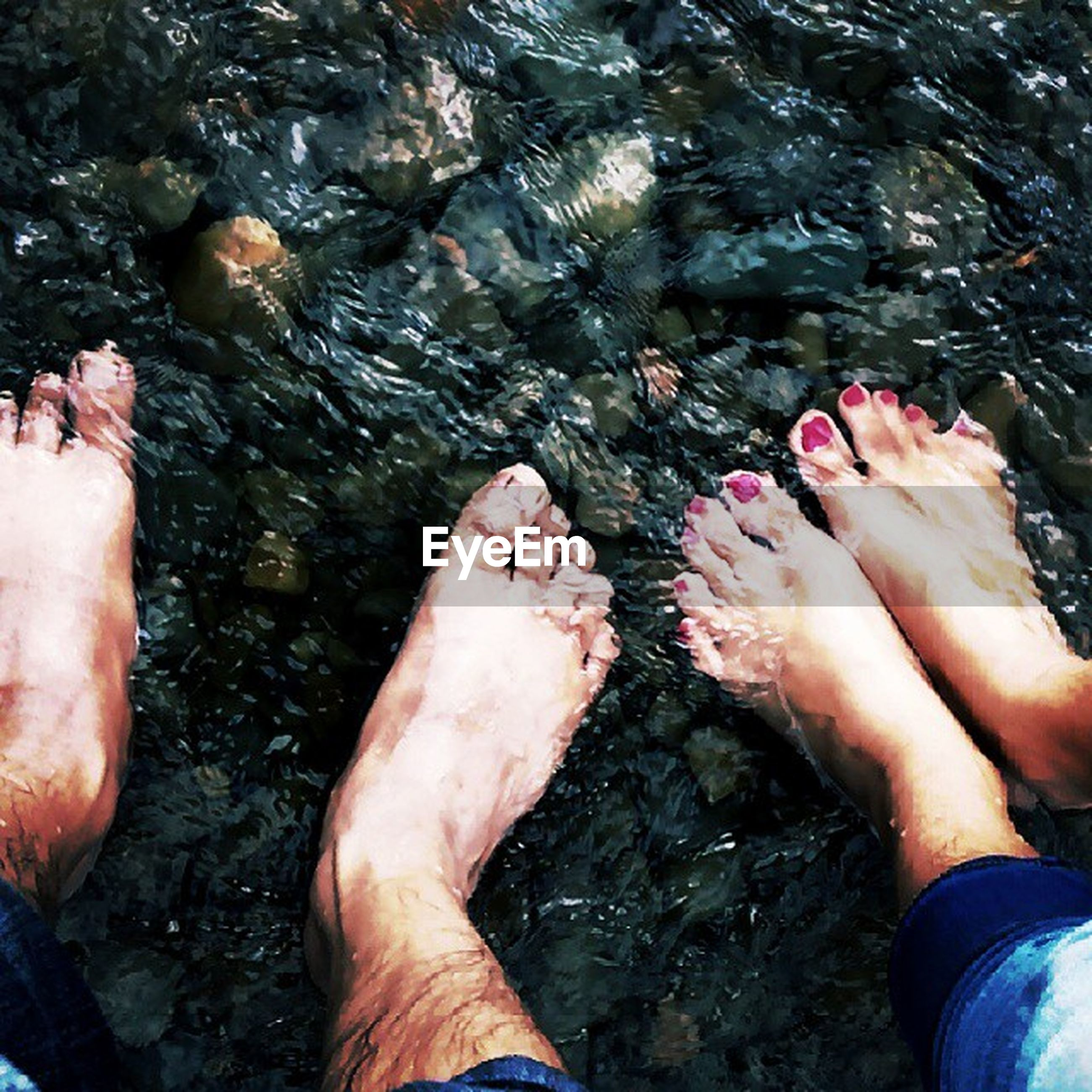 low section, personal perspective, person, water, part of, human foot, lifestyles, barefoot, leisure activity, high angle view, unrecognizable person, men, cropped, wet, outdoors